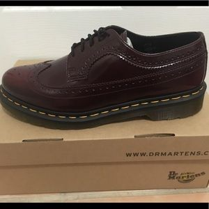 Vegan Dr. Martens Brogues in Deep Cherry
